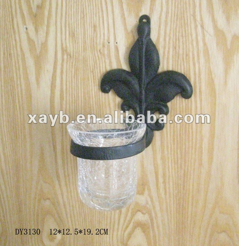 cast iron candle holder with glass cup