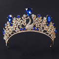 Special Gold Plated Sapphire Swan Shape Crystal Bridal Tiara And Crown
