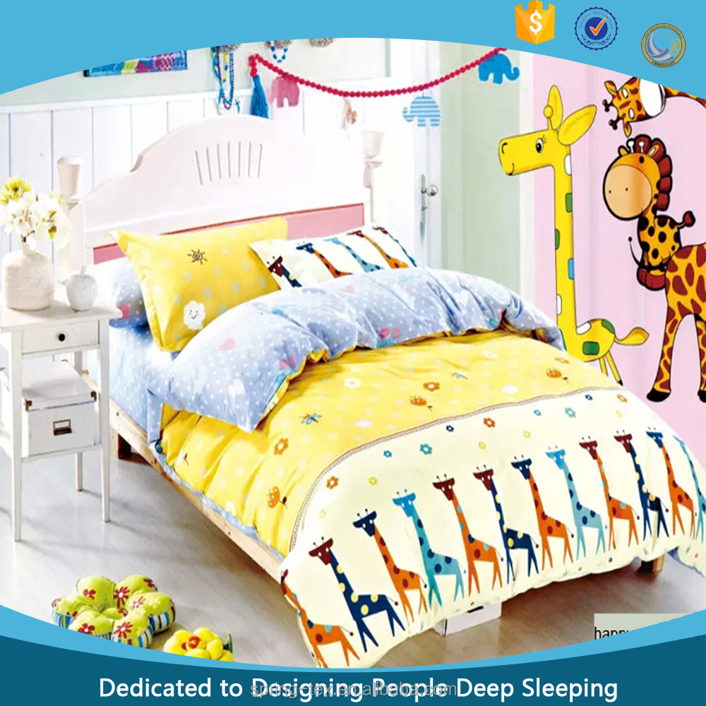 Happy Giraffe 100% Cotton Printed Bedding Set for Girl Twin Size Baby/crib bedding set