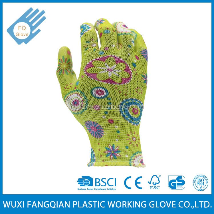 Printing Coated Transparent Nitrile On Palm Garden Glove