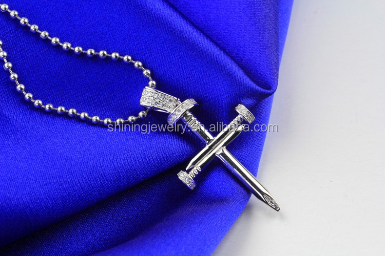 Lab Diamond Sterling Silver Iced Out Hip Hop Nail Cross Necklace