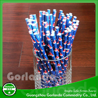 decorative drinking bar blue christmas red hat drinking paper straws
