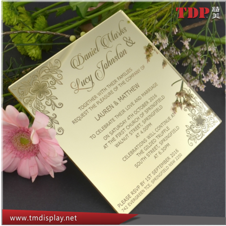 personalized custom design laser cutting clear gold acrylic mirror acrylic wedding invitation card with gift box