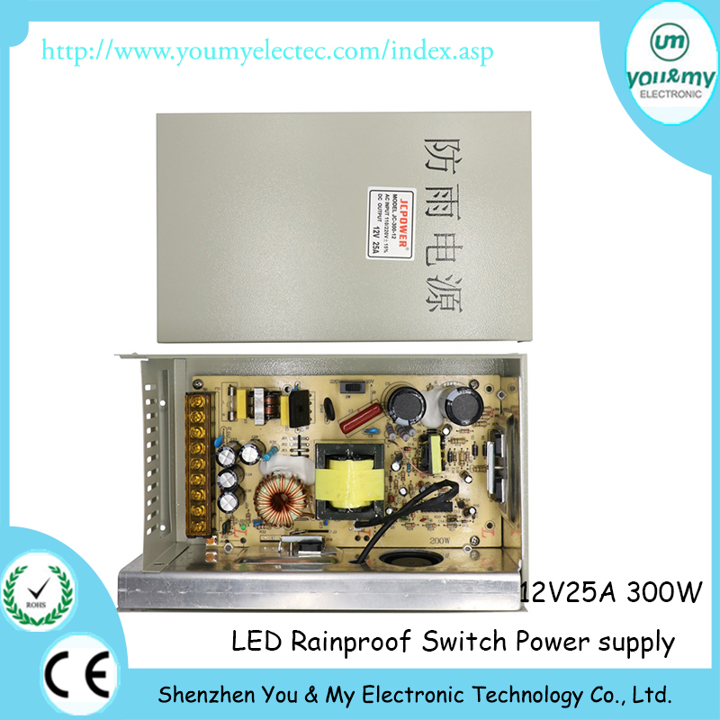 12V 25A 300W Rainproof Outdoor Waterproof Led Switching Power Supply