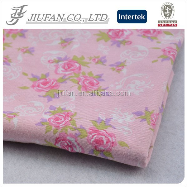 Jiufan Textile Good Quality TC Fabric Printed Rose Fabric Polyester Cotton 65/35 Fabric