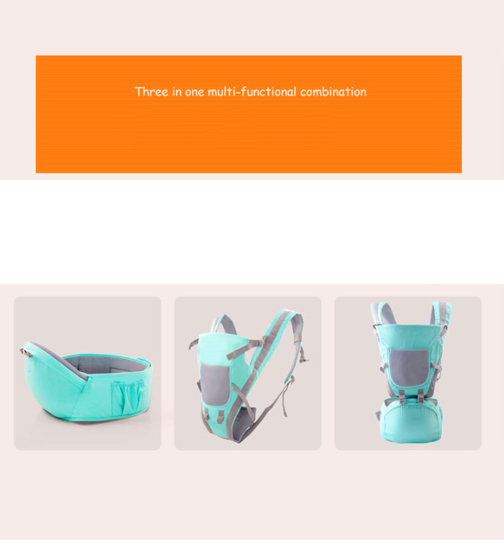 JUNYUAN 3-in-1 Multi-function Detachable Baby Carrier Waist Stool
