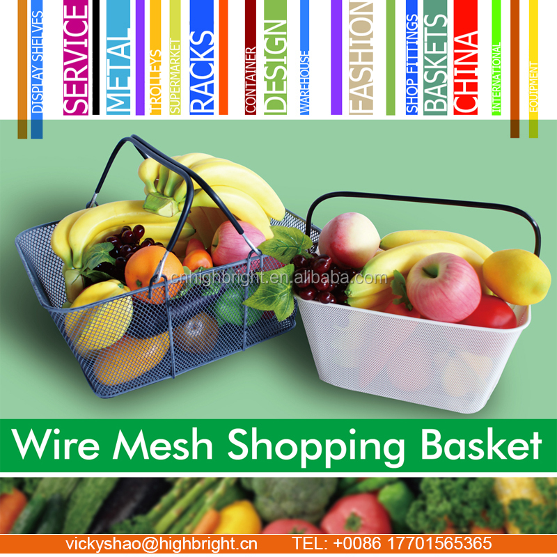 grocery hand baskets,online store solutions,chrome steel wire shopping basket