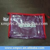 Zipper PVC Cosmetic Bag with Red Rim