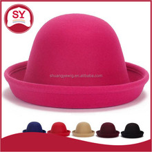 Direct manufacturers in autumn and winter Billycock Lovely Ladies Wool Hat British style curling hat wholesale