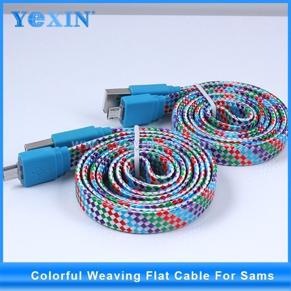 Braided fabric flat USB cable for phone5 / phone6 Colorful Fabric Braided USB Cable 1m 3 feet