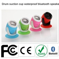 2015 Drum Protable Home design Waterproof Wireless Bluetooth Handsfree Mic Suction Speaker Shower Water bluetooth Speaker