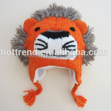 Boys funny lion knitted mohawk hat with tassel