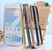 Luxury Bling Diamond Metal Bumper Frame Case Cover for Samsung Galaxy Note 2 N7100 Case