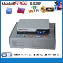 smart tv receiver Tocomfree S929 with 3g iptv sks iks free build dongle dvb t2 twin tuner receiver for south america