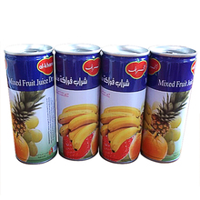 Natural soft drink mix fruit flavor juice beverage in tin can