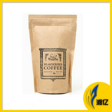 Ziplock foil lined kraft paper stand up coffee bag with valve