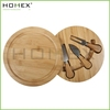 Round Cheese Cutting Board Set With Lid/Custom Chopping Blocks With Knife/Homex_BSCI