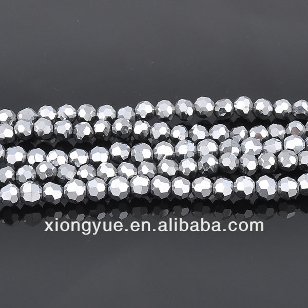 Wholesale silver plated faceted jewelry glass round beads