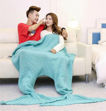 Home Couple Sleeping Bag Valentine Adult Knitted Blanket Throw Crochet Fish Scale Mermaid Tail Blanket For Lovers
