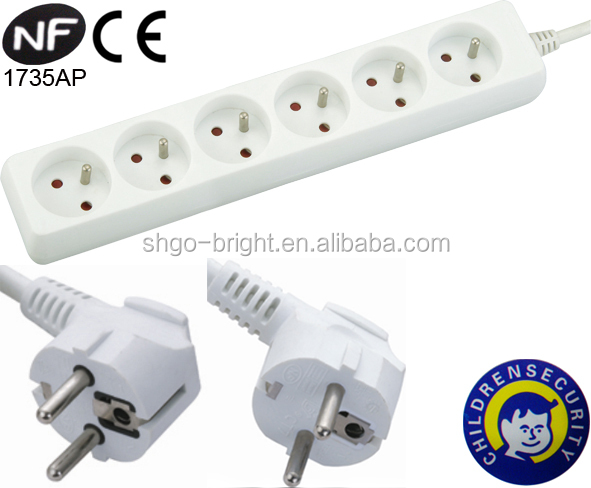6-gang 250V French Socket 6 outlets with CE NF approved