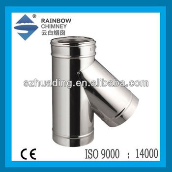 CE Double Wall Spigot Lock Stainless Steel 135 Degree Tee Fitting Pipe