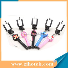 Factory Wholesale Hot sell Cartoon Handheld wired Selfie Stick for Camera and smartphones