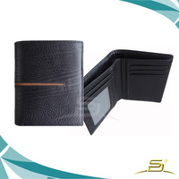 Fashion leather wallet with decorative line for men