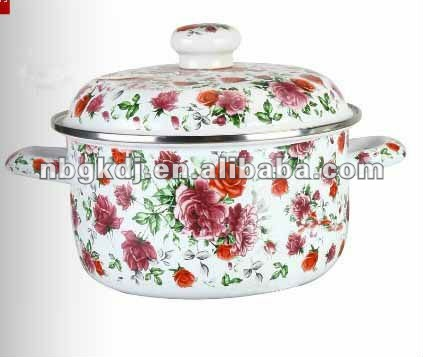 ename cookware pot with enamel lid and ceramic knob