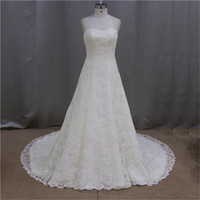 Sweetheart neckline ruched lace pink and blue wedding dress