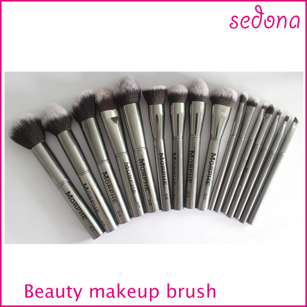 16 pcs Professional Cosmetic Makeup Brush Set, Morphe gun metal brush supplier Only, Makeup Brush set without case/pouch