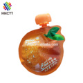 High barrier colorful printing special shaped pouch for fruit juice shape bag with spout