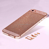 Hot sell 24kt gold for iphone 5s back housing with crystals