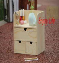 Home Desktop Wooden Storage Box For Cosmetics Makeup Desk Organizer Cabinets