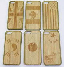 Hot sale engraved national flag design wood bamboo+PC hard phone case for iphone 5 5s 5c