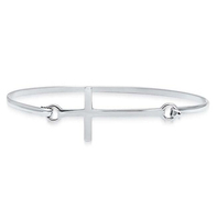 Plain Sideway 925 Sterling Silver Cross Bangle Bracelet