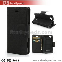 Wallet Stand Flip Leather Case for Sony Xperia M C1904 C1905 C2004 C2005 - Black