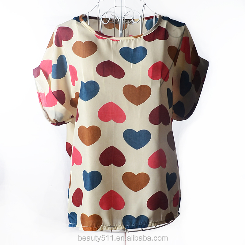 Short sleeved large print chiffon jacket shirt SD103