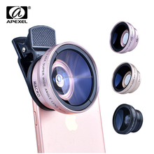 Apexel New Arrival 3 in 1 Set for all Mobile Phone Camera 37mm 0.45x Wide Angle Lens + Macro Lens for Mobile Phone Iphone Samsun