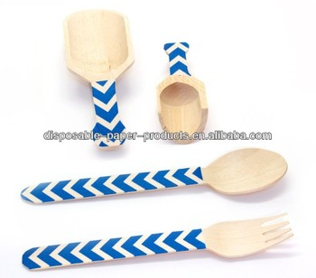 eco-friendly decorated wooden utensils Blue Chevron cutlery Wooden Spoons Forks scoops shabby chic vintage Party Supplies