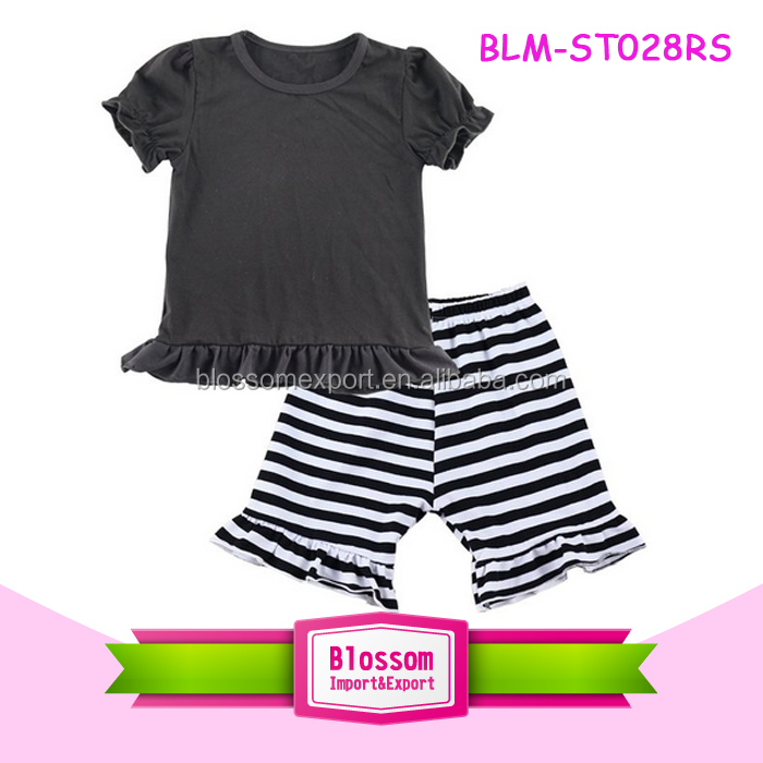 2016 summer toddler boutique ruffle frock design & stripes Icing shorts outfits baby children clothing little girl model top 100