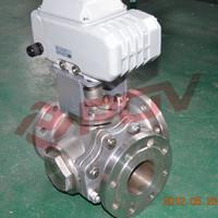 Flanged ball t type 3 way motor valve 24v 4''