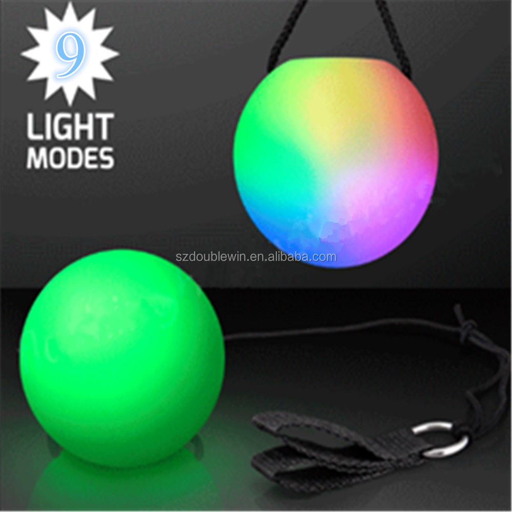 LED juggling ball 9 modes color changing light up poi ball