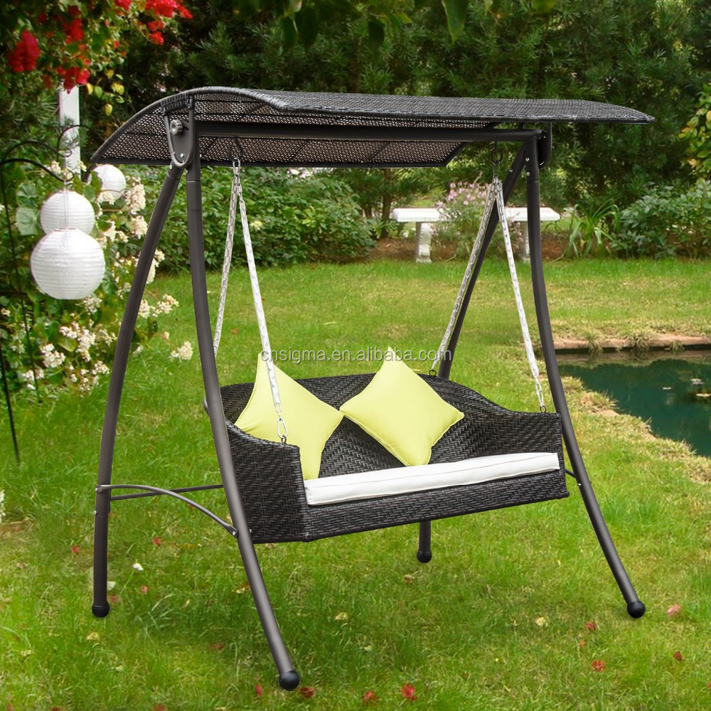 2016 Rattan Swing Chair Garden Patio Swinging Hammock Bench Seat Bed Lounger