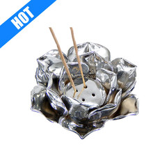 Silver Lotus Incense Cone Burner Votive T-light Candle Holder Meditation Flower Buddha