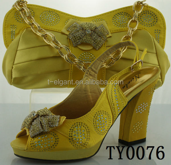 TY0076 yellow Fashion Ladies Shoes and Matching Bags/stone italian shoes and bag set/ flower design matching shoe and bag set