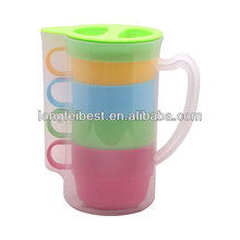 Hot sale plastic drinkware set with 4colorful cups