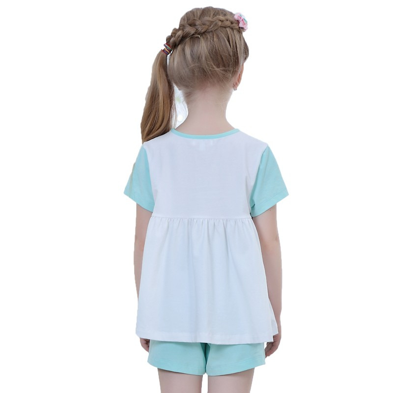 China supplier OEM blue child's clothes summer two pieces outfits for girl