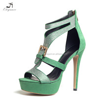 Fashion Women Rhinestone Open Toe in High Heels Stiletto Sandal Zipper Back Platform Pumps Sandals