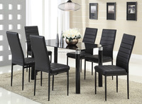 China industrial sale glass dining table 6 chairs set for home furniture