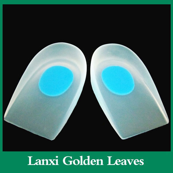 Factory Insole type foot massaging silicone gel heel inserts metal zppers for leather shoes